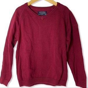 Mayoral burgundy red v-neck sweater size 6